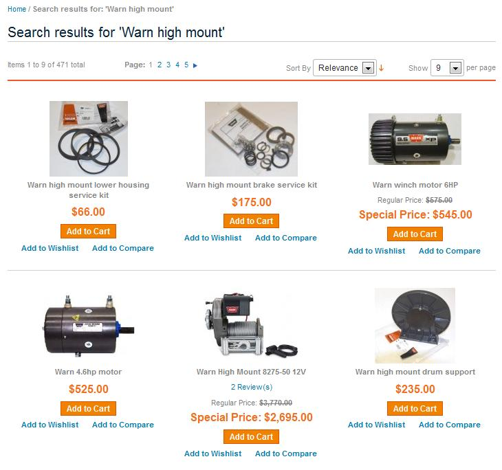 Warn high mount search results