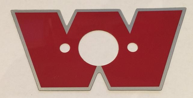"""Warn solenoid housing sticker, Genuine warn red """"W""""sticker for the solenoid housing, Warn W decal"""