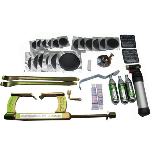 Complete Motorcycle Tyre Repair Kit For Tubed Motorcycles With Beadbreaker and 300mm Levers