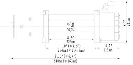 Runva 11XP winch dimensions